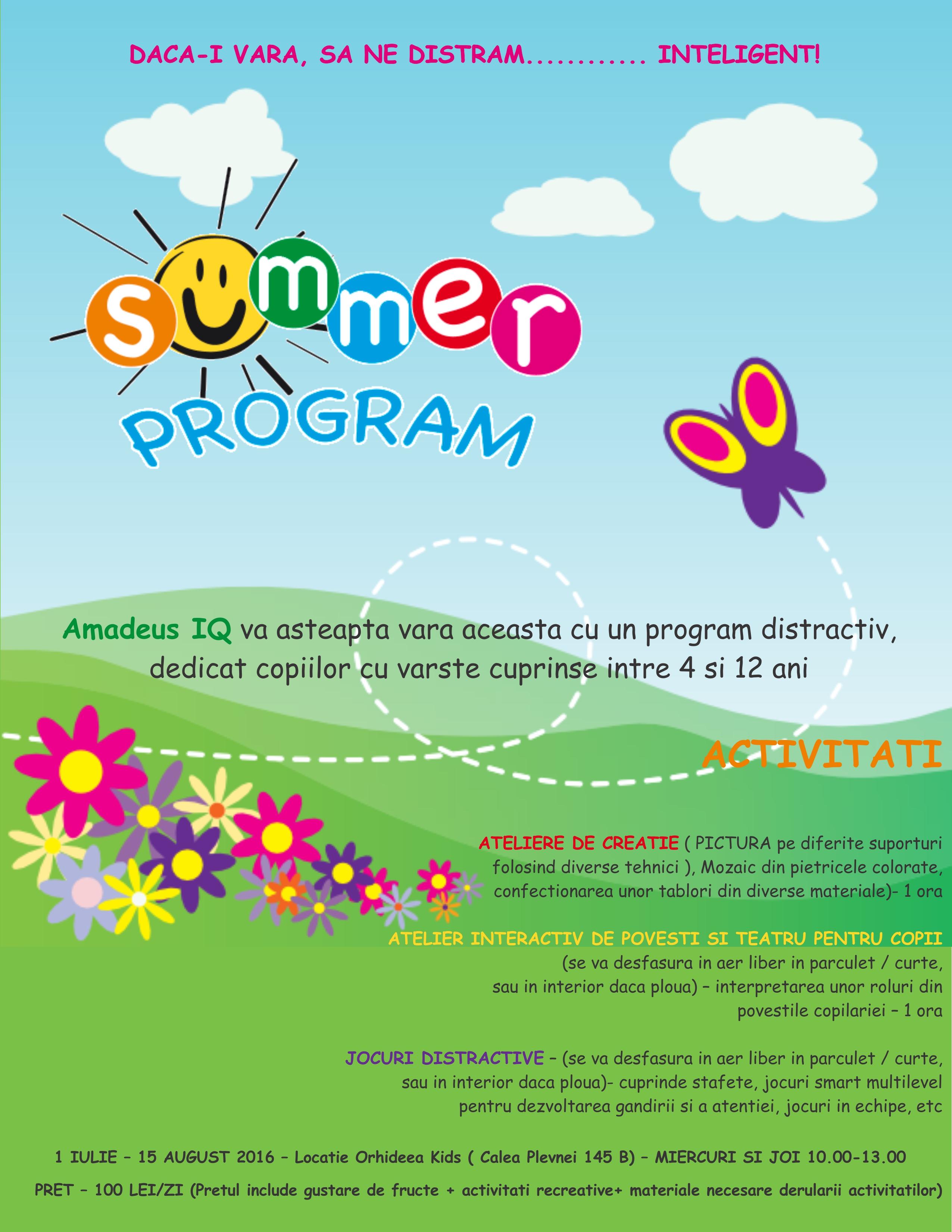 Program de vara 2016